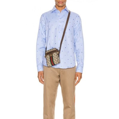 グッチ Gucci メンズ シャツ トップス symbols fil coupe cotton shirt Sky Blue