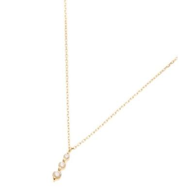 【ココシュニック】 K18ダイヤモンド 伏せ込みトリロジー ネックレス小 レディース イエロー ゴールド 40 COCOSHNIK