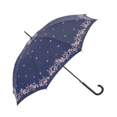 耐風・撥水ジャンプ傘 レディース ネイビー 婦人傘 雨傘 8本骨 グラスファイバー 直径103cm バラ