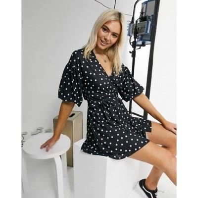 エイソス レディース ワンピース トップス ASOS DESIGN mini dress with collar detail and puff sleeve in black polka dot print