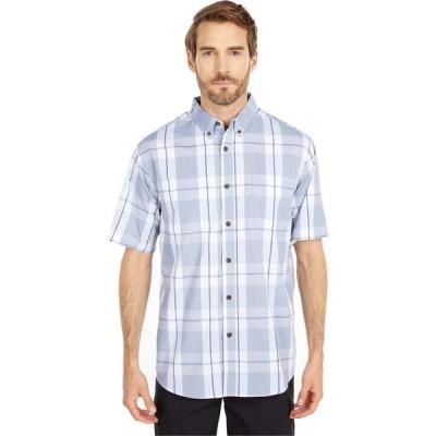 ディッキーズ Dickies メンズ 半袖シャツ トップス Relaxed Fit Flex Short Sleeve Plaid Shirt Cool Blue Navy Plaid