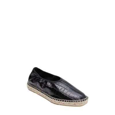 アンドレア アース レディース サンダル シューズ Laurel Embossed Leather Espadrille Flat BK/CROC