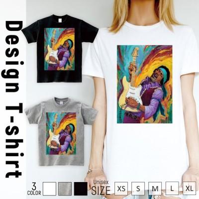 Tシャツ レディース 半袖 トップス ブランド ユニセックス メンズ プリントTシャツ ジミーヘンドリックス ジミヘン ロック ギター