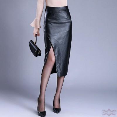 レザースカート タイトスカート ロングレザースカート レザー PU スカート 30代 40代 ペンシルスカート ハイウエスト おしゃれ 美脚 ボトムス 大きいサイズ