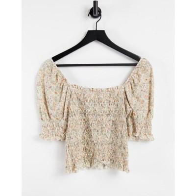 アンドアザーストーリーズ レディース シャツ トップス & Other Stories organic cotton shirred puff sleeve top in beige floral