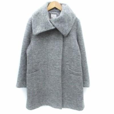 【中古】エマジェイムス EMMAJAMES コート ロング丈 ビッグカラー シングルボタン ウール 9 グレー /FF1 レディース