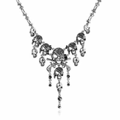 DELEY Vintage Alloy Pirate Skull Skeleton Tassel Collar Bib Gothic Statement Necklace Silver