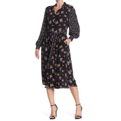 アンジー レディース ワンピース トップス Button Front Floral Printed Midi Dress BLACK