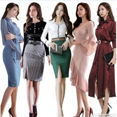 「 10/29新作追加 Special Offer」 高品質 韓国ファッション OL、正式な場合、礼装ドレス セクシーなワンピース、一字肩 二点セット、側開、深いVネック やせて見える、ハイウエ