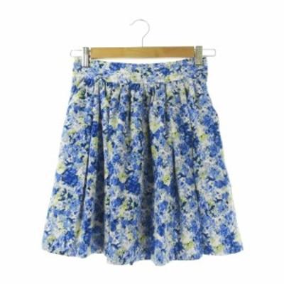 【中古】ロペピクニック ROPE Picnic スカート フレア ミニ 花柄 38 青 ブルー /CK16 ☆ レディース
