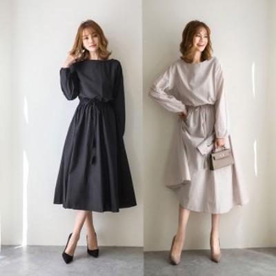 40代のレデースファッション 大きいサイズのレディースワンピース 秋冬 体型カバー フレアワンピース 20代 30代 長袖 K0769
