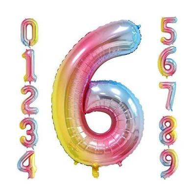 HiHK 約101cm 誕生日 数字 バルーン 風船 ナンバー 風船 数字バルーン ゴム風船 誕生日 パーティー飾りに 虹色