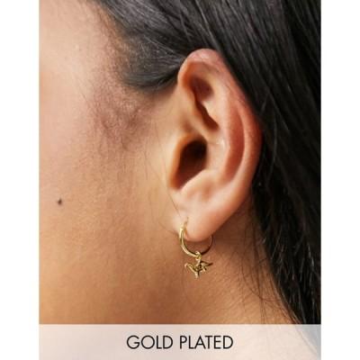 キングスリーライアン レディース ピアス・イヤリング アクセサリー Kingsley Ryan dinosaur hoop earrings in sterling silver gold plate