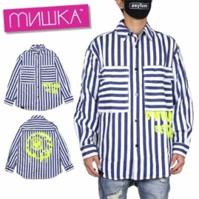 ミシカ MISHKA 長袖シャツ ブランド SHIRT MAW200214 ブルー M L
