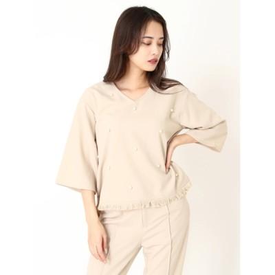 DURAS / 裾フリンジパールトップ WOMEN トップス > Tシャツ/カットソー