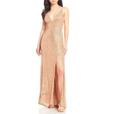 ジービー レディース ワンピース トップス Social V-Neck Sequin Long Dress