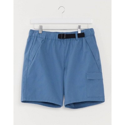 エイソス ASOS DESIGN メンズ ショートパンツ カーゴ ボトムス・パンツ cargo shorts with webbed belt in bright blue ブルー