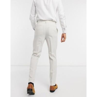 エイソス メンズ カジュアルパンツ ボトムス ASOS DESIGN wedding slim suit pants in stone crosshatch STONE