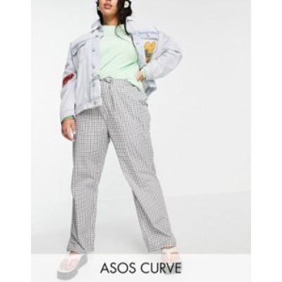 エイソス レディース カジュアルパンツ ボトムス ASOS DESIGN Curve straight leg pull on poplin pants in mono check Mono check