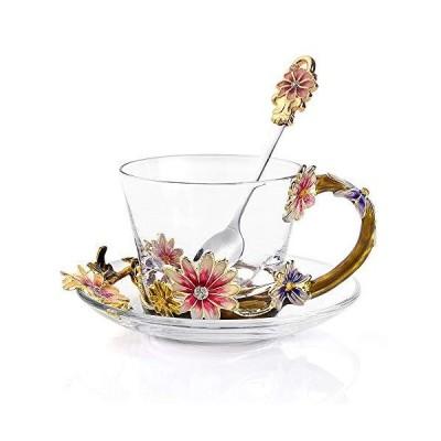 高級コーヒーカップ ガラスコーヒーマグ 耐熱クリスタルマグカップ 8オンス スプーンと皿付き 手作りコーヒーマグ 鉛フリー クリエイティブギフト ビジ
