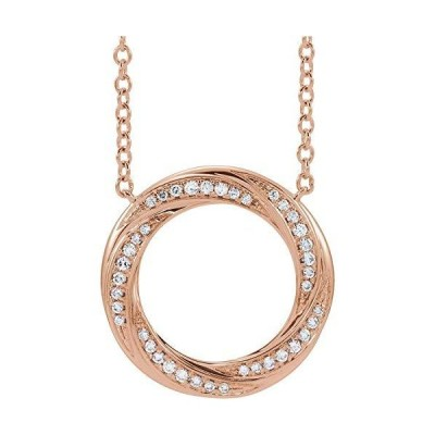 "14k Rose Gold 1/5 CTW Diamond Circle 16-18"" Necklace for Women【並行輸入品】"