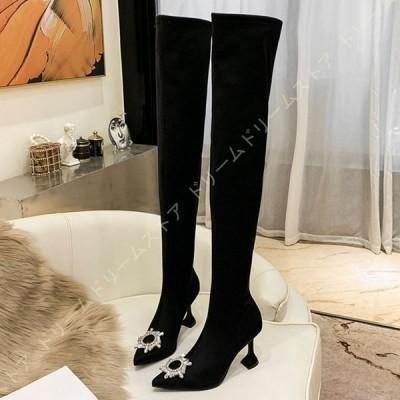 サイハイブーツ 黒 キラキラ 9cmヒール 美脚 ニーハイブーツ 大きいサイズ 疲れない ロングブーツ レディース 履きやすい コスプレ ハイヒール ピンヒール