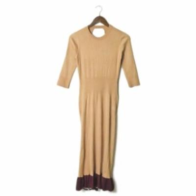 TOGA PULLA トーガ プルラ 19SS Wide Rib Knit Dress ワイドリブニットドレス TP91-XH207 36 ベージュ 七分袖 ラッフル ワンピース トッ