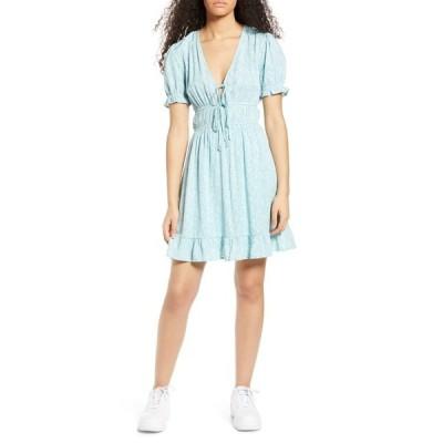 ワンクロージング レディース ワンピース トップス Floral Elastic Waist Minidress BLUE/IVORY