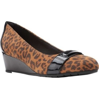 クラークス Clarks レディース パンプス ウェッジソール シューズ・靴 Mallory Strap Wedge Pump Dark Tan Leopard