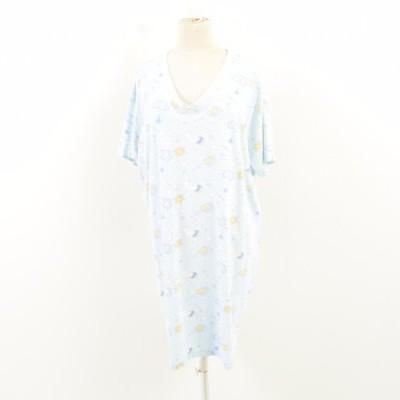 総柄 パジャマ Tシャツワンピース フリーサイズ /wat3978