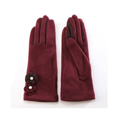 レディース フェイクパール2連花モチーフ ジャージー手袋