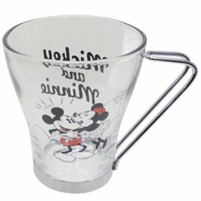 ◆ミッキー&ミニー ハンドル付きグラスマグ (ディズニー)マグカップ おしゃれ コップ マグ 食器(C65)