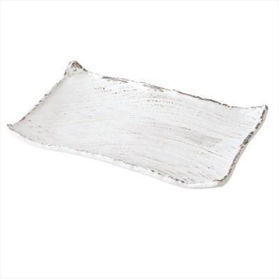 和食器 錆粉引 枯山水 角皿37cm  日本製 美濃焼