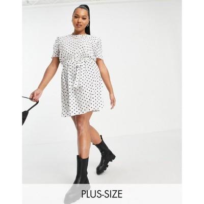 アーバンブリス ドレス 大きいサイズ レディース Urban Bliss Plus scoop neck gathered sleeve dress in polka dots エイソス ASOS