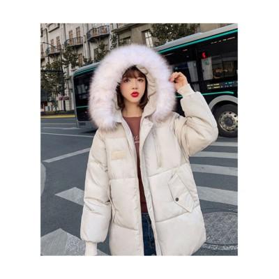 (seiheishop/セイヘイショップ)ダウンジャケット ダウンコート 暖かい 厚手 極暖ジャケット 長袖 中綿  アウターショート 防寒  ファー取り外し可能 ファーフード付き 通勤通学/レディース ベージュ