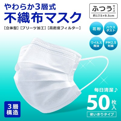 使い捨てマスク やわらか不織布マスク 50枚 入り ふつうサイズ 大人用 女性用 男性用