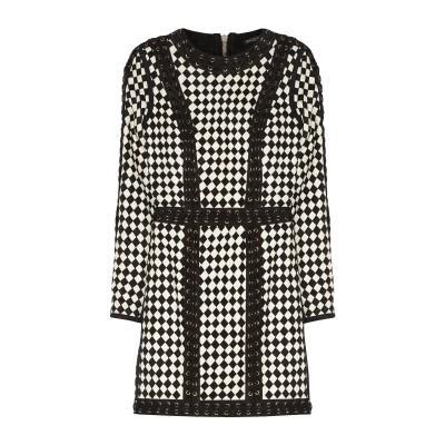 バルマン BALMAIN ミニワンピース&ドレス ブラック 36 羊革(ラムスキン) 100% ミニワンピース&ドレス