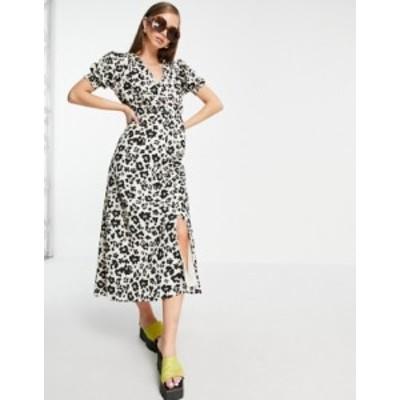 リバーアイランド レディース ワンピース トップス River Island leopard print button through midi dress in brown Print