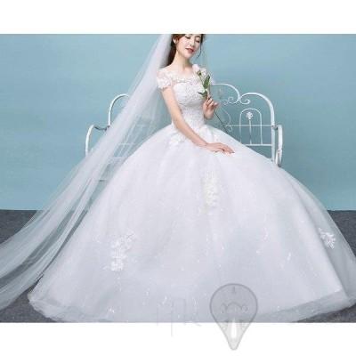 ウエディングドレス 結婚式 半袖 二次会 ウェディングドレス レース 安い プリンセス エンパイア 花嫁 ドレス 白 披露宴 ロング 大きいサイズ シンプルドレス