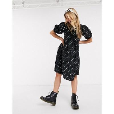 モンキ Monki レディース ワンピース ワンピース・ドレス Melody cotton poplin polka dot smock dress in black ブラック/ホワイト