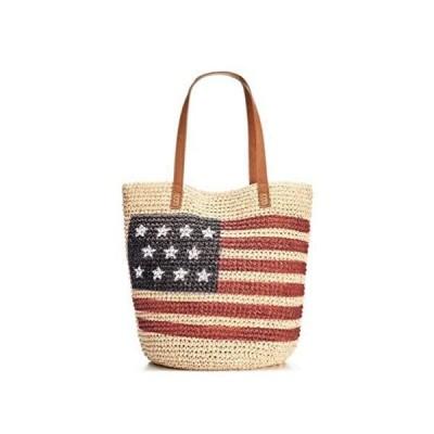Style & Co. Womens Straw Printed Tote Handbag Beige Large並行輸入品 送料無料