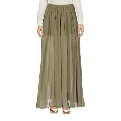 EUROPEAN CULTURE ロングスカート ミリタリーグリーン S コットン 99% / ポリウレタン® 1% ロングスカート