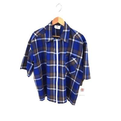 ユーズドフルギ USED古着 FUSION チェック柄 ジップアップ半袖シャツ メンズ  中古 201128