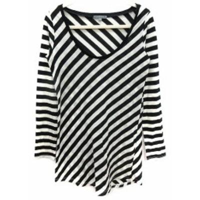 【中古】ブラック バイ マウジー BLACK by moussy カットソー Tシャツ チュニック Uネック ボーダー 長袖 F 黒 ブラック 白