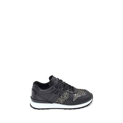 Hogan Luxury Fashion Woman MCBI37113 Black Leather Sneakers   Season Outlet 並行輸入品