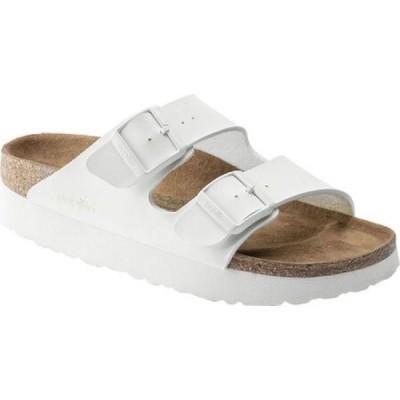 ビルケンシュトック Birkenstock レディース サンダル・ミュール シューズ・靴 Papillio Arizona Platform Vegan Two Strap Slide White Birko/Flor