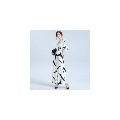 ジャンプスーツ オールインワン レディース オーバーオール 薄手 夏服 Vネック 7分袖 ゆったり 配色 カジュアル フォーマル 結婚式 パーティー