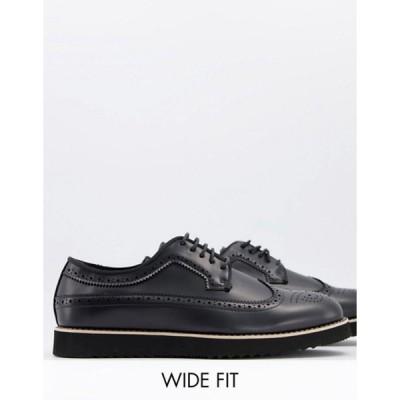 トリュフコレクション メンズ スリッポン・ローファー シューズ Truffle Collection wide fit casual lace up brogues in black