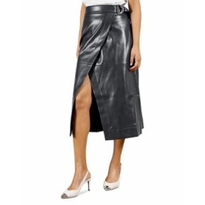 テッドベーカー レディース スカート ボトムス Faux Leather Wrap Skirt Navy