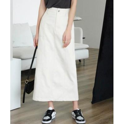Mayree / 【Mayree】ヘビーツイル&デニムロングタイトスカート 2021SS WOMEN スカート > デニムスカート